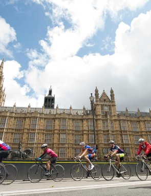 RideLondon participants pass by the Houses of Parliament