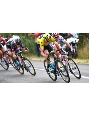 Tour leader Chris Froome descends ahead of King of the Mountains Joaquim Rodriguez on stage 15