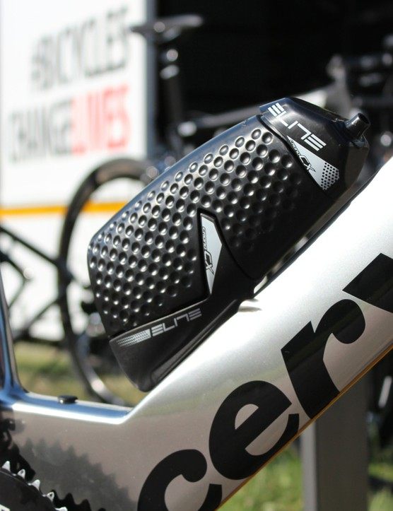 Aero bottles are allowed so long as they don't fill in the space between the down and seat tubes