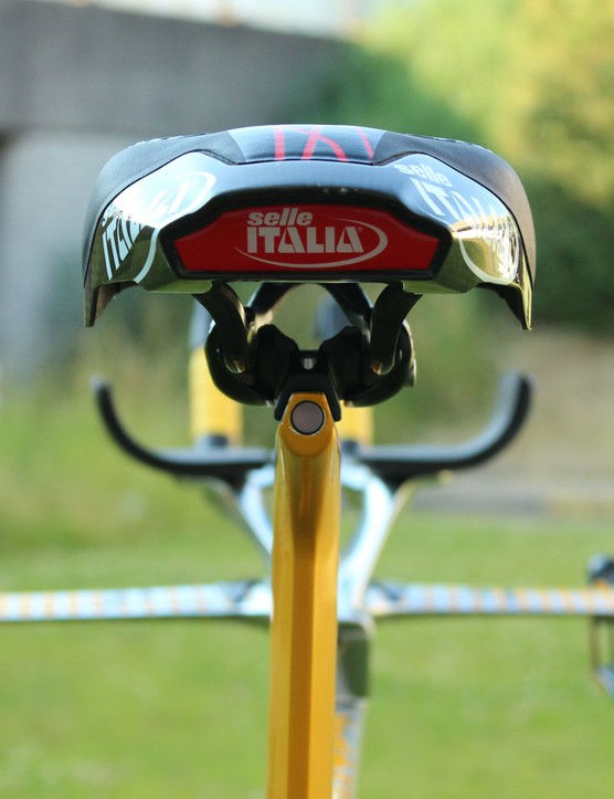 The Selle Italia Kronos sits atop a new perch on the seatpost