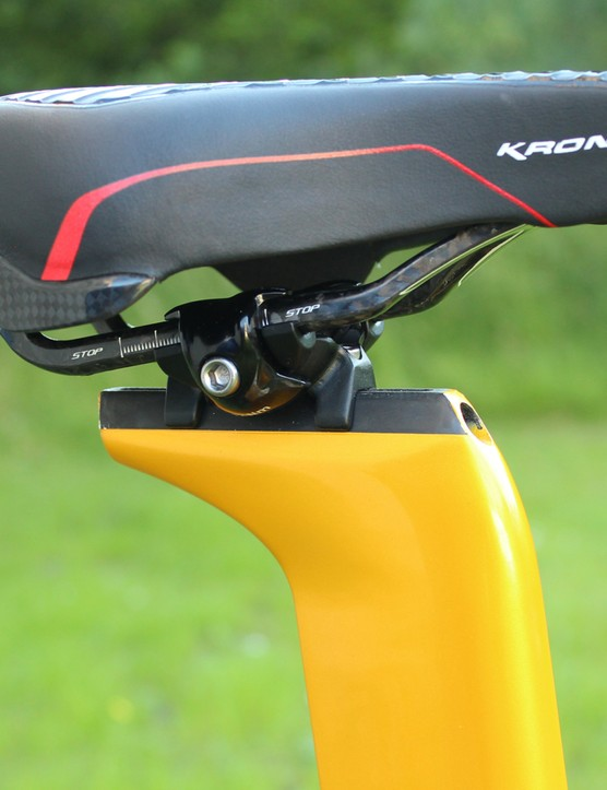 As the riders sit far forward, the rear carbon section is effectively a fairing, not a functional part of the saddle