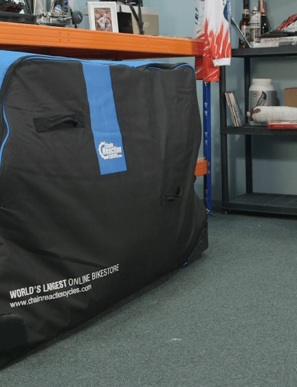 Many bags come with handy wheels, such as this Chain Reaction Cycles Pro bike bag