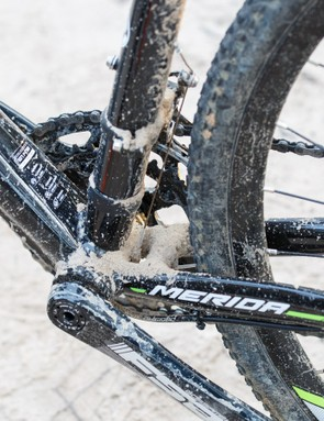 The large down tube is there to resist flex under power – and does its job