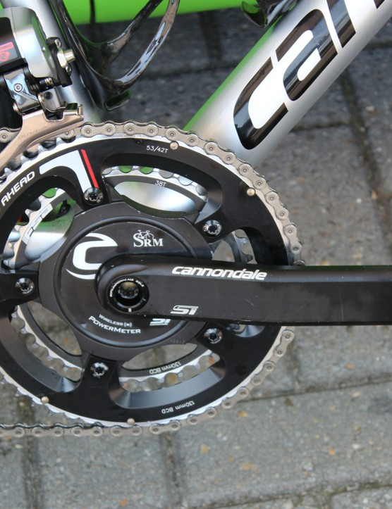 While some Cannondale-Garmin riders use Garmin-branded Exustar pedals (but without the Vector pods), Ryder Hesjedal just uses Dura-Ace pedals and an SRM power meter