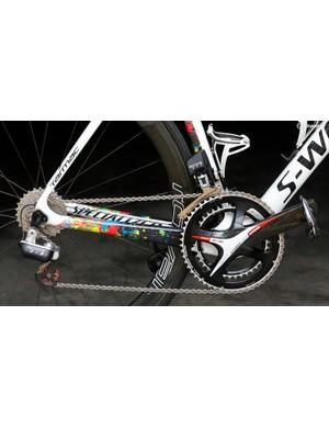 FSA's prototype electronic group on one of Michal Kwiatkowski's bikes at the Tour de France