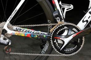 FSA's prototype electronic group on one of Michal Kwiatkowski's bikes at the 2015 Tour de France