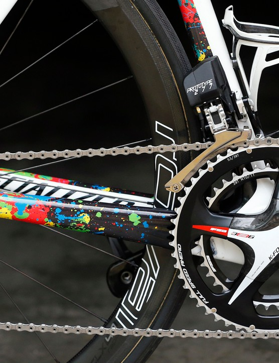 FSA's prototype electronic group on one of Michal Kwiatkowski's bikes at the 2015 Tour de France