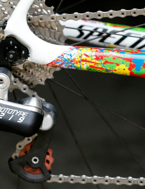 This 2015 FSA prototype electronic rear derailleur isn't quite as sculpted as the 2016 version