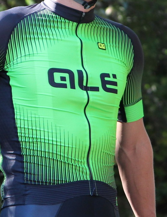 The Alé PRR jerseys have a thin, silky chest and a thin, mesh back, with long sleeves that stay in place when riding