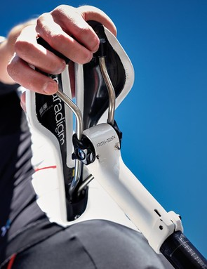 The Bontrager Paradigm RL saddle sits on an integrated seatpost, which saves a few precious grams over a standard item