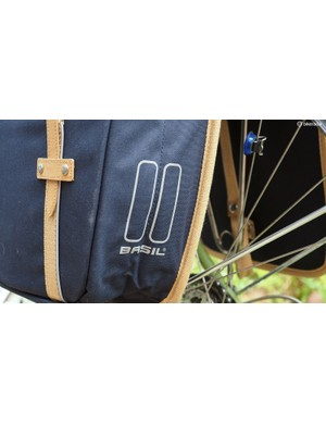 Reflective bits on the back of the Basil Portland Slim Fit panniers add a bit of nighttime visibility