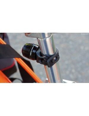 The rubber strap mount should work on a wide range of tube shapes and sizes