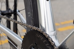 Nope, your eyes aren't deceiving you. There is no front derailleur mount, and no way to install one