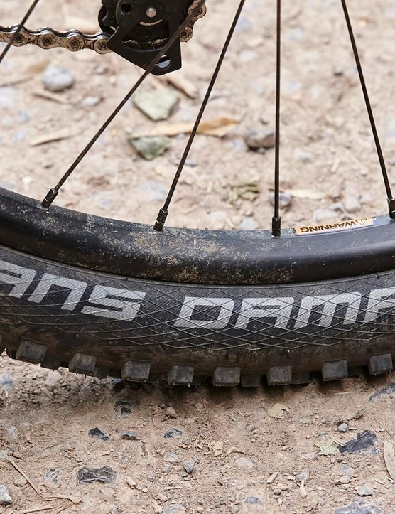 Durable Novatec hubs sit at the centre of tubeless-ready WTB rims that fatten and support the grippy Hans Dampf all-rounder treads well