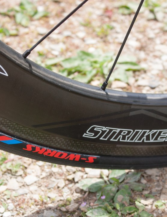 The Strike has a deeper rim, aiding aerodynamics at the rear. A pair of Specialized Turbo clinchers gave excellent grip in the rain