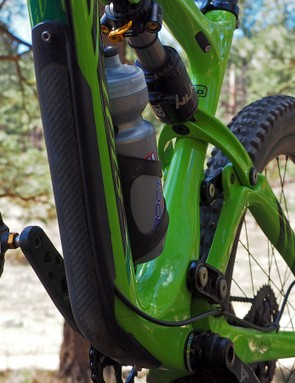 The underside of the down tube is shielded with a meaty bolt-on guard, which also protects the externally routed rear brake line