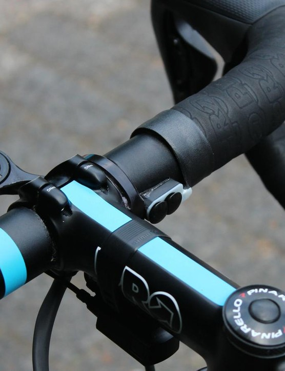 Team Sky mechanics use a touch of superglue underneath the ends of the bar tape, which lets them use a minimum of finishing tape