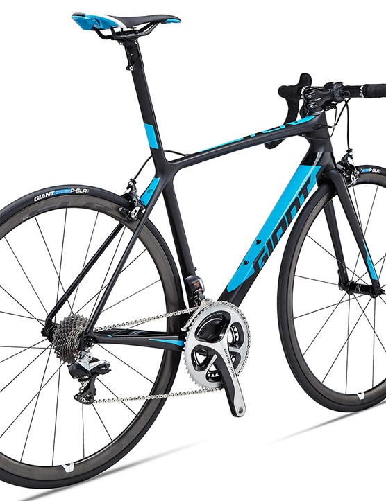 The flagship TCR Advanced SL 0 comes fully tricked out with Dura-Ace Di2 and the new Giant SLR 0 DBL carbon wheelset
