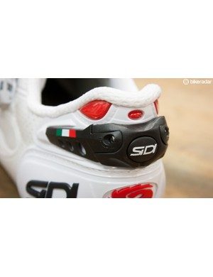 Sidi's rigid heel cup is further enhanced by adjustment arms, which can, by way of a small screwdriver, add a bit of extra grip