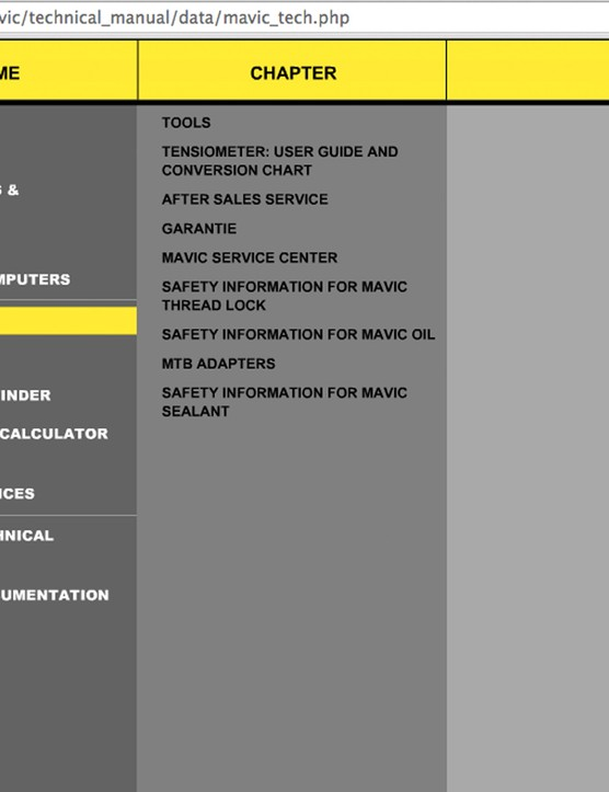 Mavic is one company that strangely has a password protected service portal, but then provides the login details within its owners' manuals (cough Username: Mavic-com Password: dealer, cough)