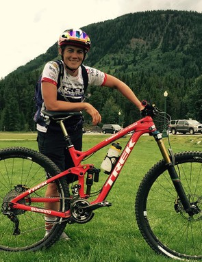 Like her teammate Leov, Trek Factory racer Tracey Moseley is leading the series on her Remedy 29