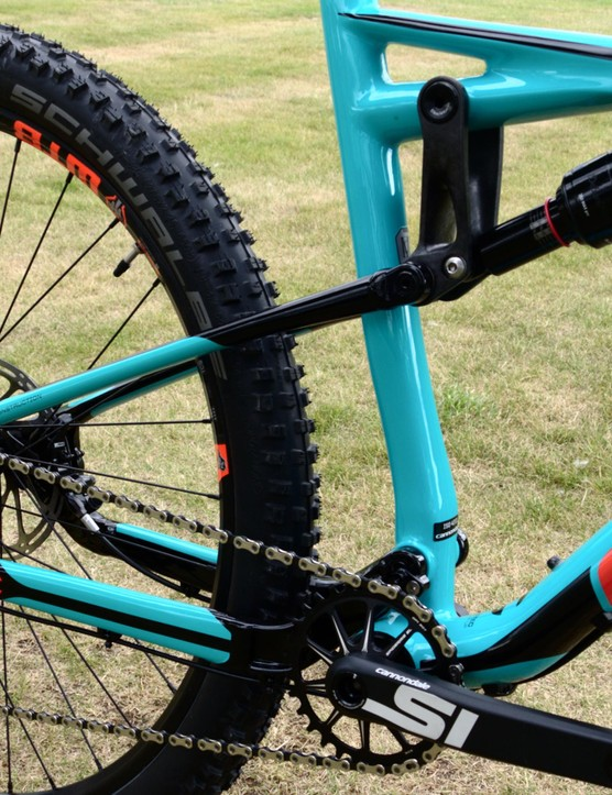 The back end uses Cannondale's Zero Pivot seat stays for increased pedalling efficiency and lower weight