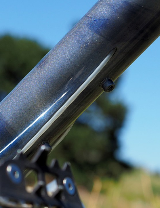 Klein frames successfully managed internal cable routing by feeding full-length liners through the frame at the factory for easier setup and maintenance. Owners just needed to make sure they never pulled them out