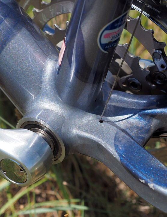 Cartridge bearings were pressed and bonded directly into the bottom bracket shell