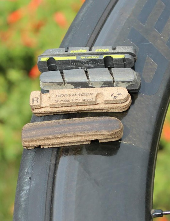 Bontrager recommends two types of brake pads: SwissStop Black Prince pads for more bite, or the Bontrager Carbon Stop Cork options for a softer feel