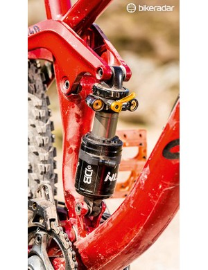 Cane Creek's DBInline shock offers huge adjustability, though our unit had issues with reliability