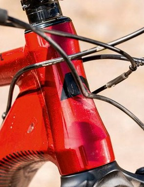 The bike has a tall head tube, so you'll want to drop the stem to keep balance