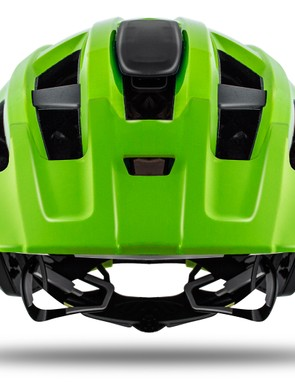 The front of the helmet features a visor. There's an action cam mount in the centre