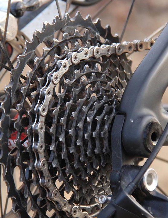 The SRAM XO1 cassette was looking worse for wear after 220 miles of racing