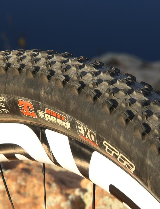 The Maxxis Icon rolls quickly and the rounded profile and consistent knob pattern allow it to break loose predictably, making it a good choice in the rear