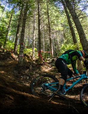Coil shocks are making a comeback thanks to enduro racing. Here Yeti racer Ritchie Rude storms the Whistler track to take the win aboard his Yeti SB6c equipped with a Fox DHX 2 coil shock