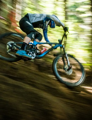 Many of the Giant Off-Road Factory team members frequently run coil shocks. Here Yoann Barelli puts his RockShox Vivid RC2 though the paces