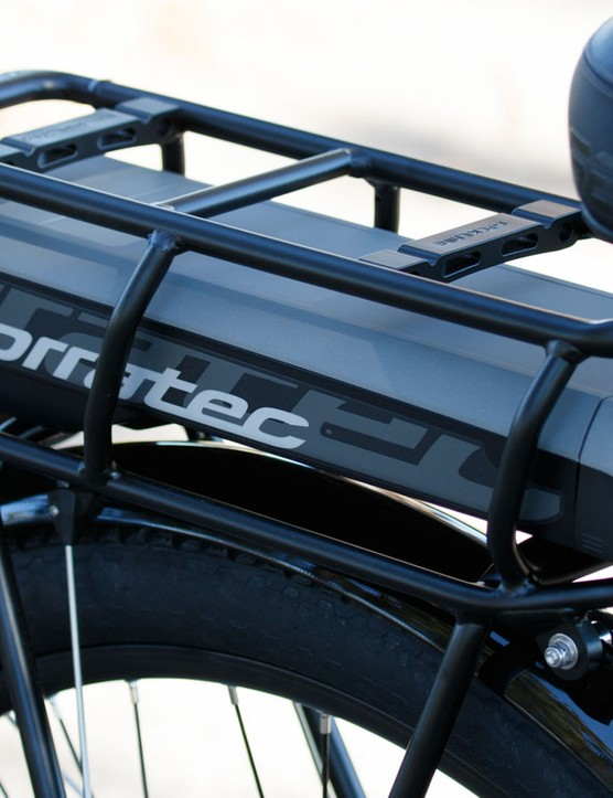 The 11-amp hour battery is mounted under a rear rack