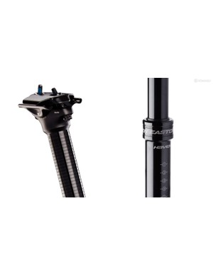 The two-bolt head is borrowed from Race Face's standard Turbine seatpost. Lower internal air pressures and the use of static, rather than dynamic, seals are said to further boost reliability