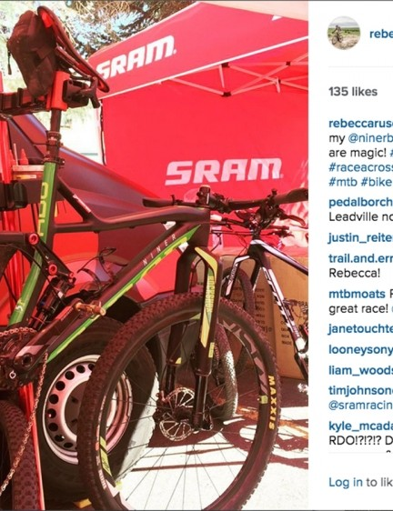 A photo posted to Rebecca Rusch's Instagram account appears to show a new Niner full-suspension model