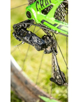 SRAM X9, frequently specced on Mondrakers, is a middling transmission option