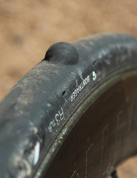 I tested 24 and 26mm Bontrager R3 TLR tires. The rear 24mm bubbled up like this after a long, steep descent, as air somehow escaped the inner butyl layer and started to push into the tread