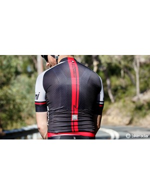The rear is made from dimpled LycraKa fabric, which is also stretchy. Santini says it's designed conform to the body while in a tucked position