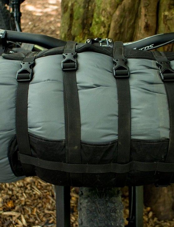 The Fat Lion harness will carry dry bags between 13 and 35 litres just below the handlebar
