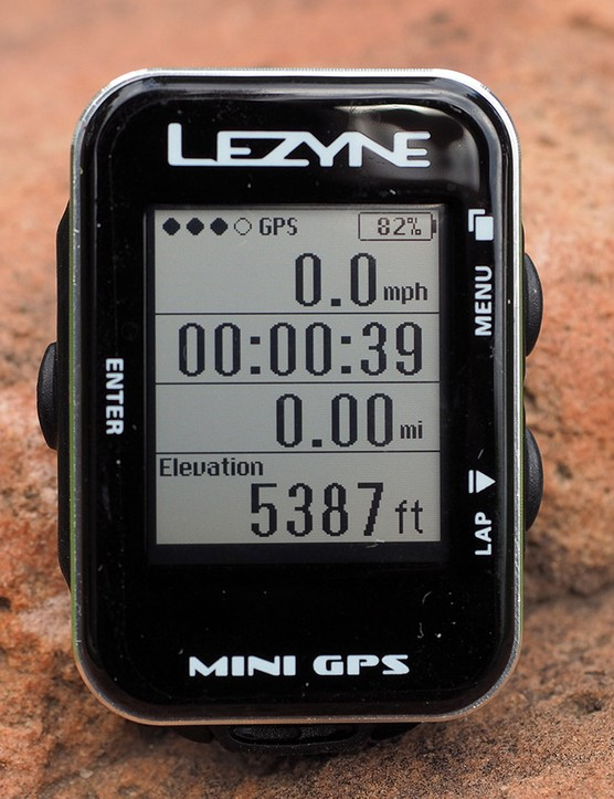 The screen may be tiny on the Lezyne Mini GPS computer but it's easy to read and displays up to four lines of information