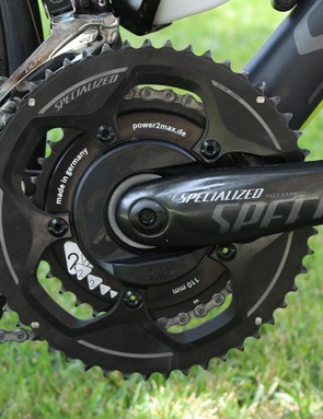 I usually stick a Stages left crank on test bikes that come with Shimano or SRAM cranks. Since Specialized has its own cranks, I opted for a Power2Max spider-based meter