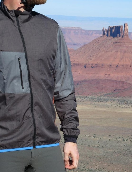 The Wind Jacket has an asymmetrical zipper that is easy to adjust while riding