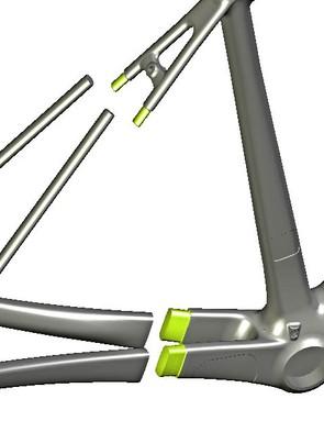 Fewer bonded joints means a lighter frame