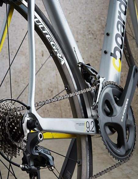 Slimline seatstays and chunky chainstays: comfort and power