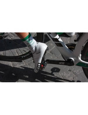 Caja-Rural doesn't have an offical shoe sponsor so the riders wear a variety of shoes. Omar Fraile seems to have a friend at Giro