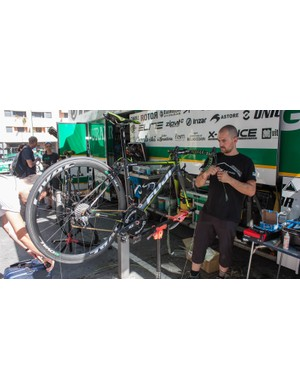 There's no sense of panic as one of Basque rider Amets Txurruka's bikes gets some attention